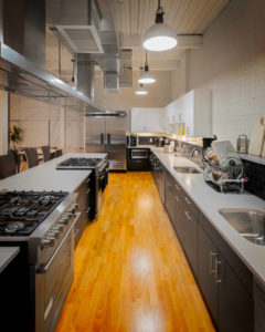 Work surfaces in the common kitchen space at 196 Trumbull