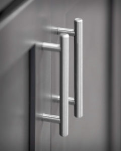 Hardware detail showing Richelieu bar pulls in the kitchens at Residences On Main in Bristol.