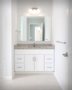 Viking Kitchens installed CNC Luxor vanity bases in White in the bathrooms at Residences On Main in Bristol.